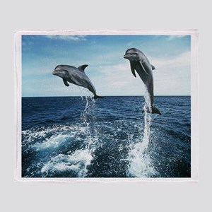 Dolphins In The Ocean Throw Blanket